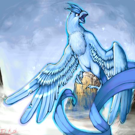 Легендарная птица.  Она охлаждает воду в зимнем воздухе